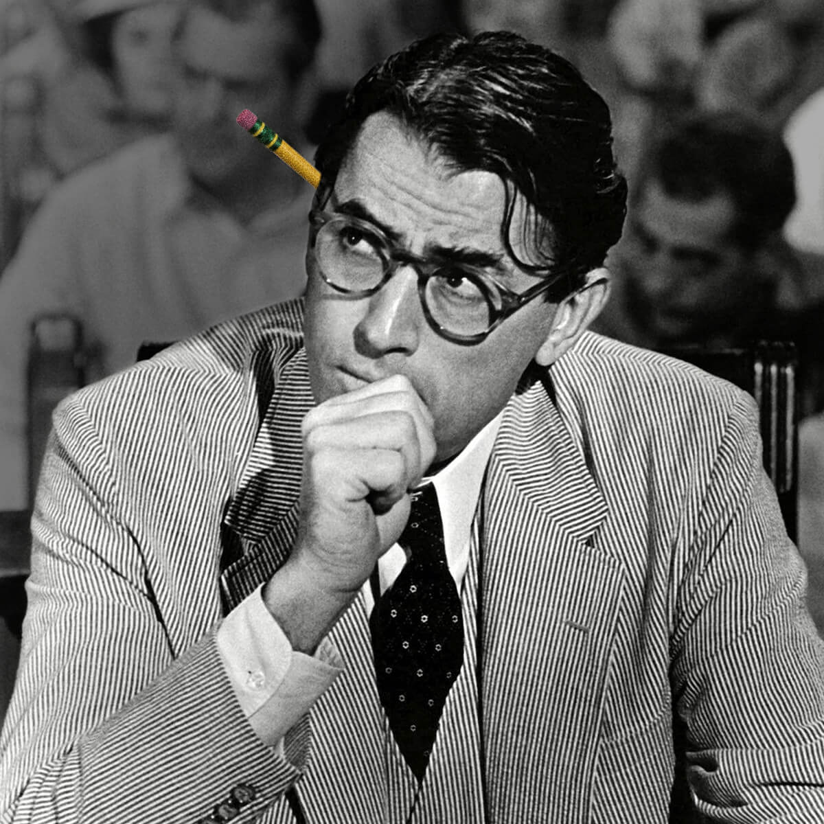 Atticus Finch with Dixon No. 2 Yellow Pencil Behind His Ear